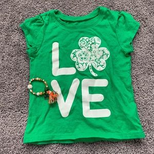 St Patrick's day toddler 2t lot bracelet shirt
